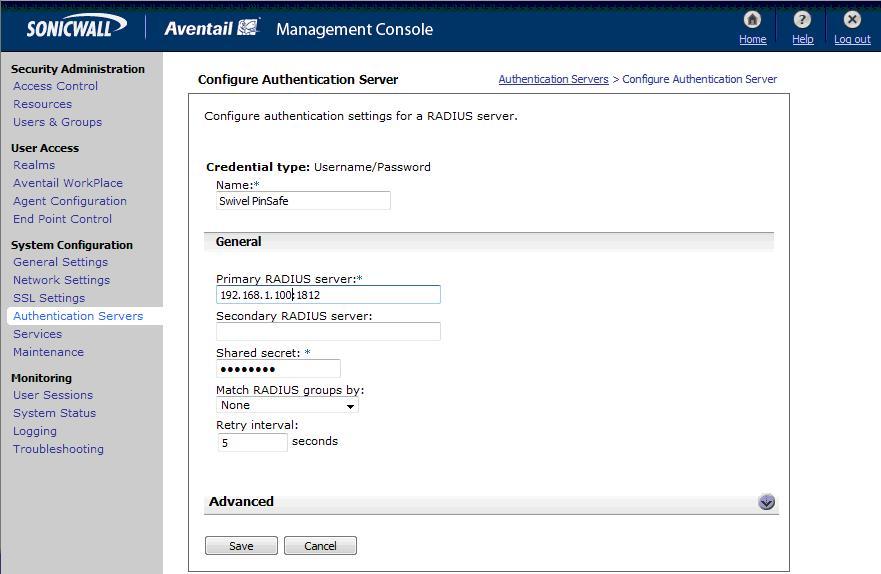 Aventail Integration - Swivel Knowledgebase