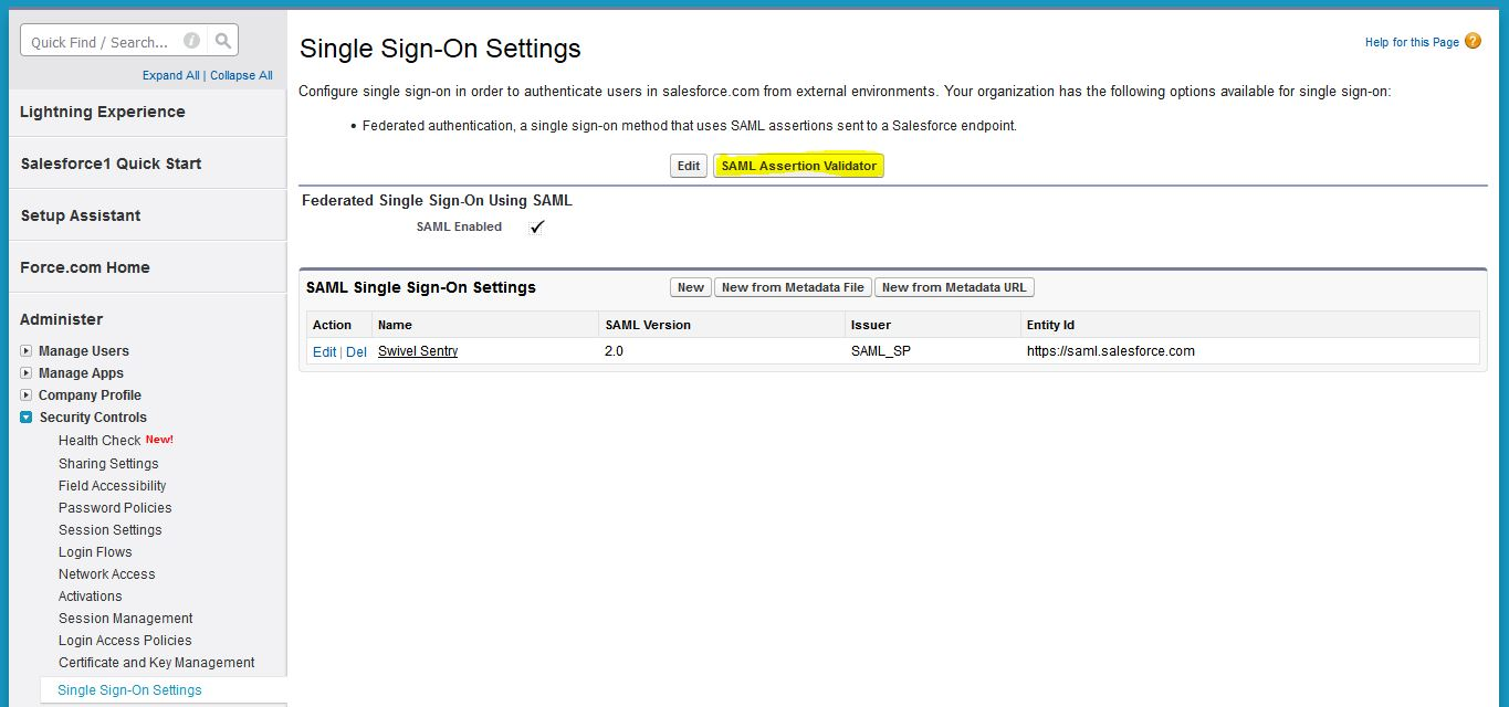 Sentry SSO with Salesforce - Swivel Knowledgebase