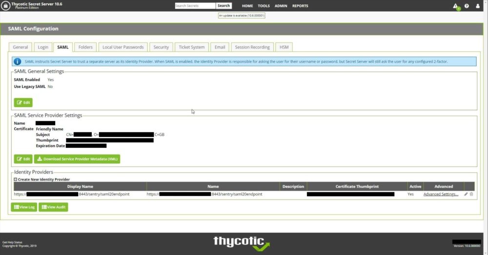 Sentry SSO with Thycotic Secret Server - Swivel Knowledgebase